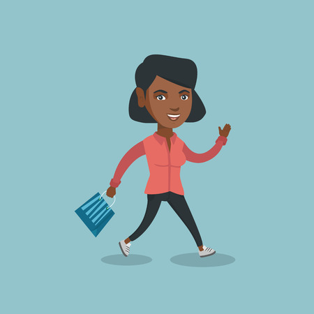 Young african-american woman rushing to promotion and sale in the shop.