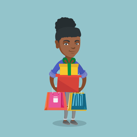 African-american woman holding shopping bags and gift boxes.