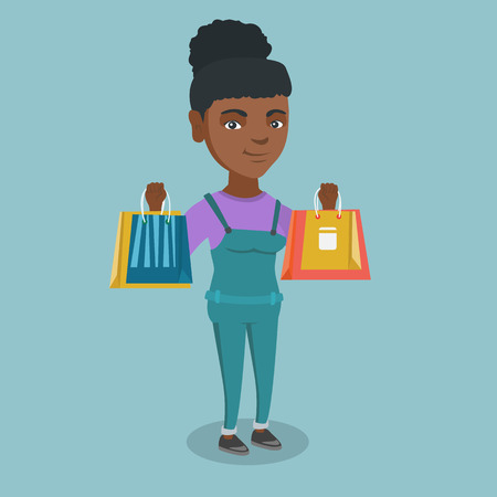Woman standing with a lot of shopping bags Ilustração