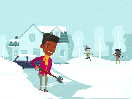 Young african-american father removing snow with a shovel in the yard while his caucasian white son and african daughter playing snowballs on snowy winter day. Vector isolated cartoon illustration. Illustration