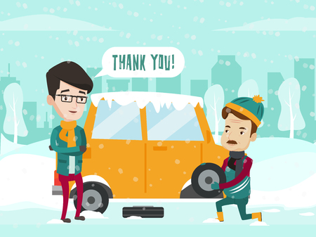 Caucasian white auto mechanic helps a young man to change a tire on car on winter road after a car breakdown. Man replacing the wheel on the car on cold snowy winter day. Vector cartoon illustration.