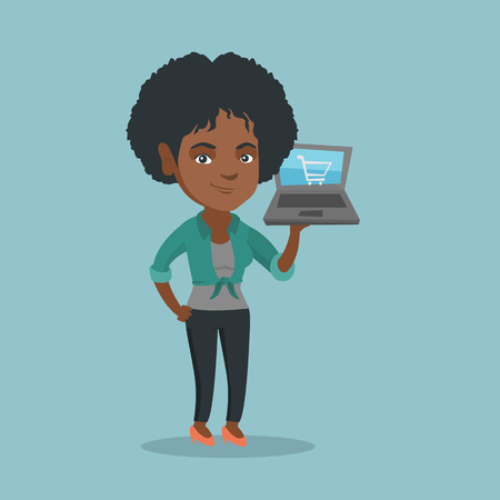 Young african-american woman holding a laptop with a shopping cart on a screen. Woman using a laptop for online shopping. Woman doing online shopping. Vector cartoon illustration. Square layout.