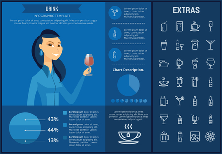 Drink info graphic template, elements and icons