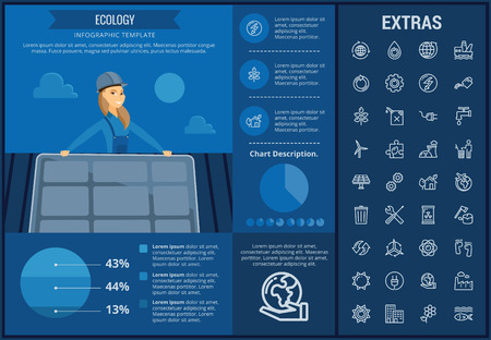 Ecology info graphic template, elements and icons