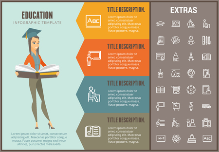 Education infographic options template, elements and icons. Infograph includes line icon set with education certificate, university student, library book, college diploma, class board, school desk etc