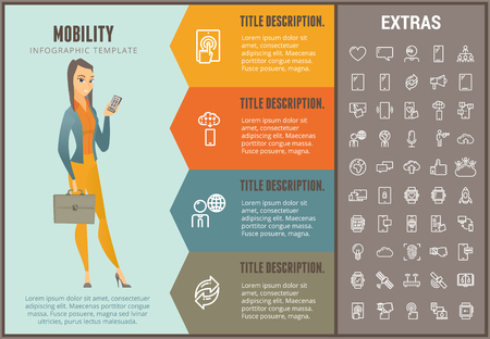 Mobility infographic option template, elements and icons. Infograph includes line icon set with mobile technology, smartphone app, cloud computing and more.