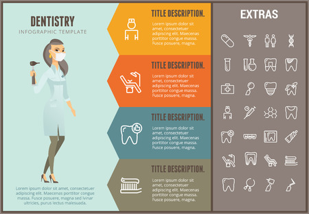 Dentistry infographic options template, elements and icons. Infograph includes line icon set with dentist tools, dental care, tooth decay, teeth health and more.