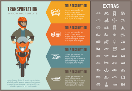 Transportation infographic options template, elements and icons. Infograph includes line icon set with transport vehicle, truck trailer, airplane, train, hot air balloon, construction vehicles etc.