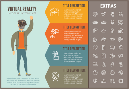 Virtual reality info graphic options template and icons