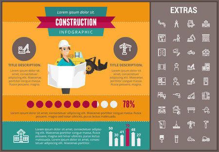 Construction infographic template, elements and icons. Infograph includes customizable graphs, charts, line icon set with construction worker, builder tools, repair person, house building etc.
