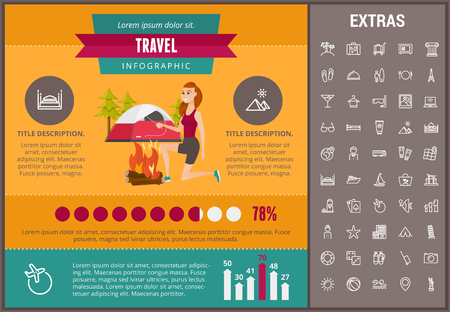 Travel infographic template, elements and icons. Infograph includes customizable graphs, charts, line icon set with tourist attraction, luggage cart, travel planning, holiday vacation, traveler etc.