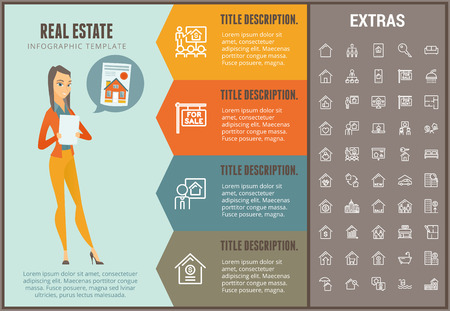 Real estate info graphic options template and icons