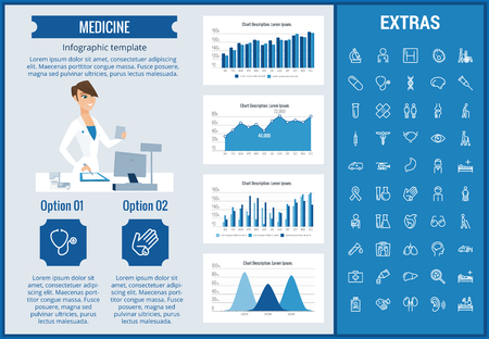 Medicine infographic template, elements and icons. Infograph includes customizable graphs, charts, line icon set with medical stethoscope, disable person, hospital doctor, nurse, first aid kit etc. Ilustracja