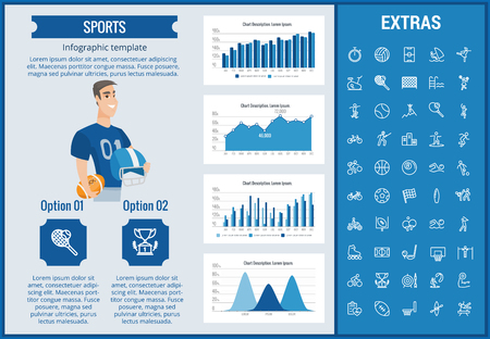 Sports infographic template, elements and icons. Infograph includes customizable graphs, charts, line icon set with sport equipment. Illustration