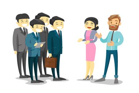 아시아 비즈니스 여자 및 회의에서 백인 흰색 사업가 듣고 아시아 대표단의 그룹. 회의 중에 다민족 대표단 네트워킹. 벡터 격리 된 만화 그림입니다.