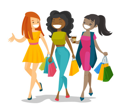 Three young happy multicultural friends shopping together. Cheerful smiling african-american and caucasian white women laughing and walking with shopping bags. Vector isolated cartoon illustration.