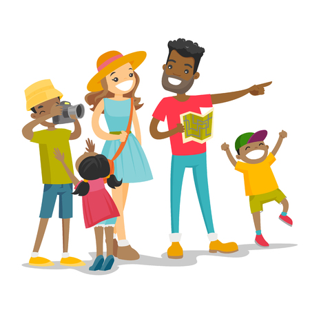 Positive multiracial parents with three biracial kids traveling together. Traveling family checking a direction on a paper map and taking picture on the camera. Vector isolated cartoon illustration.