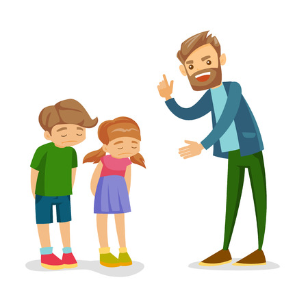 Young angry Caucasian white father shaking forefinger and scolding his unhappy son and daughter. Furious father punishing his sad children for unruly behavior. Vector isolated cartoon illustration.