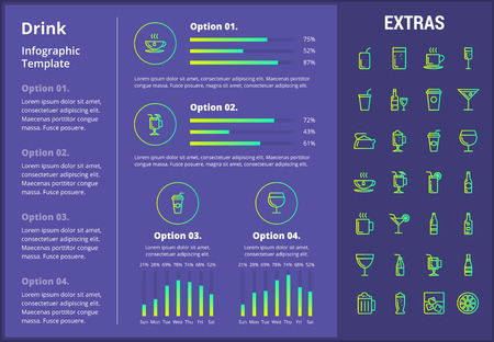 Drink infographic template, elements and icons. Infograph includes customizable graphs, four options, line icon set with bar drinks, alcohol beverage, variety of glasses, non-alcoholic beverages etc. 向量圖像