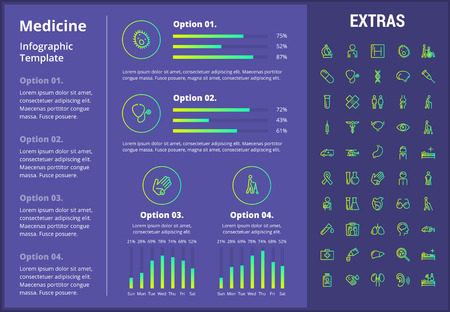Medicine infographic template, elements and icons. Infograph includes customizable graphs, four options, line icon set with medical stethoscope, disable person, hospital doctor, first aid kit etc.