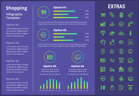 Shopping infographic template, elements and icons. Infograph includes customizable graphs, four options, line icon set with shopping cart, online store, mobile shop, price tag, retail business etc.