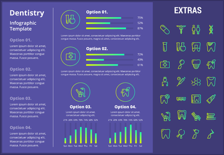 Dentistry infographic template, elements and icons. Infograph includes customizable graphs, four options, line icon set with dentist tools, dental care, tooth decay, teeth health, medicine chest etc.