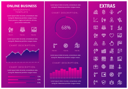 Online business infographic template, elements and icons. Infograph includes customizable graphs, charts, line icon set with stack of money, online market, business worker, mobile shop etc. Illustration