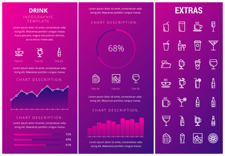 Drink infographic template, elements and icons. Infograph includes customizable graphs, charts, line icon set with bar drinks, alcohol beverage, variety of glasses, non-alcoholic beverages etc. Illustration