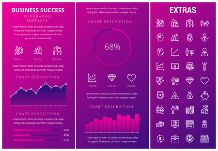 Business success infographic template, elements and icons. Infograph includes customizable graphs, charts, line icon set with business worker, successful businessman, corporate leader, market data etc