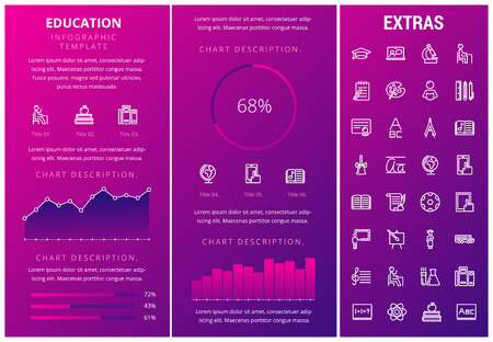 Education infographic template, elements and icons. Infograph includes customizable graphs, charts, line icon set with education certificate, university student, library books, college diploma etc.