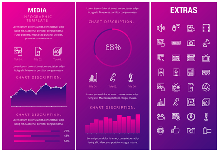 Media infographic template, elements and icons. Infograph includes customizable graphs, charts, line icon set with social media, user profile, broadcast media, music record, telecommunication etc.