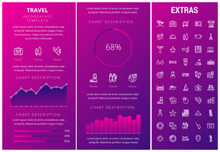 Travel infographic template, elements and icons. Infograph includes customizable graphs, charts, line icon set with tourist attraction, luggage cart, travel planning, holiday vacation, traveler etc. Imagens - 90936199