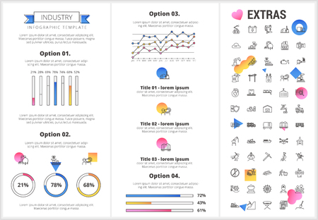 Industry infographic template, elements and icons. Infograph includes customizable graphs, four options, line icon set with mining equipment, fossil fuels, conveyor belt, nuclear power plant etc.