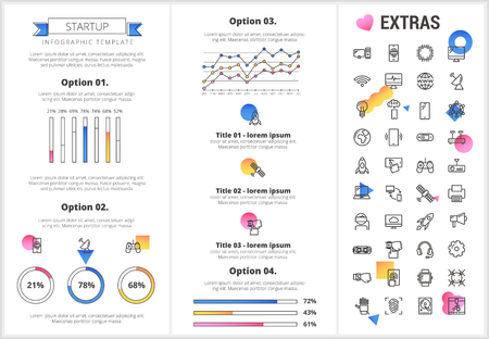 Startup infographic template, elements and icons. Infograph includes customizable graphs, four options, line icon set with startup rocket, business launch, network technology, internet connection etc. Çizim