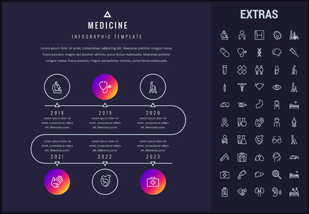 Medicine timeline infographic template, elements and icons. Infograph includes line icon set with medical stethoscope, disabled person, hospital doctor, first aid kit, healthcare professionals etc. Ilustracja