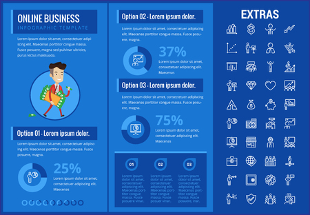 Online business infographic template, elements and icons. Infograph includes customizable graphs, charts, line icon set with stack of money, online market, business worker, mobile shop etc. Çizim