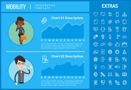 Mobility infographic template, elements and icons. Infograph includes customizable graphs, charts, line icon set with mobile technology, smartphone application, cloud computing, network connection etc Illustration