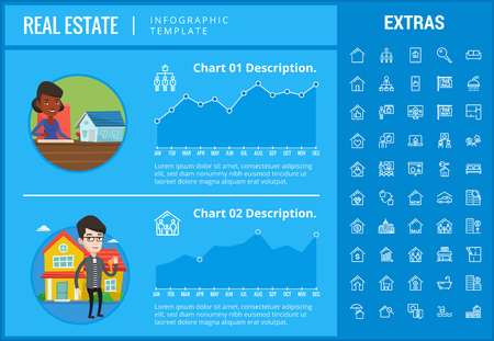 Real estate infographic template, elements and icons. Infograph includes customizable graphs, charts, line icon set with real estate agent, architecture engineering, investment broker, etc.