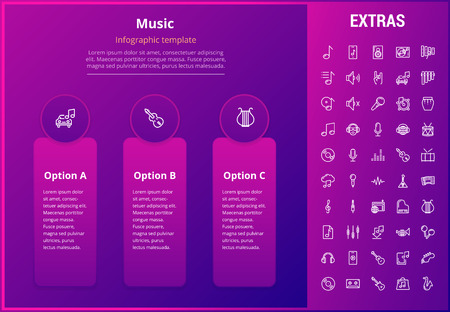 Music options infographic template, elements and icons. Infograph includes line icon set with musical instruments, music notes, mic, smartphone with mobile application, vinyl record, equalizer etc.