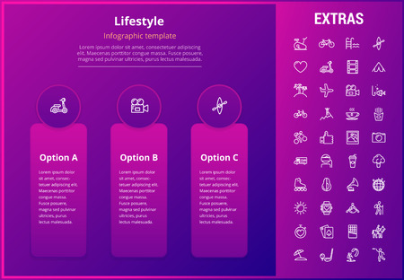 Lifestyle options infographic template, elements and icons. Infograph includes line icon set with healthy and fast food, sport exercise, training machine, leisure activities, transport vehicle etc.