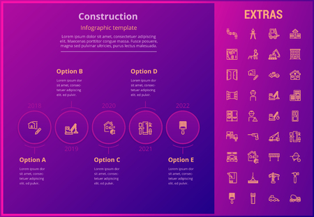 Construction options infographic template, elements and icons. Infograph includes line icon set with construction worker, builder tools, repair person, house building, building project etc.