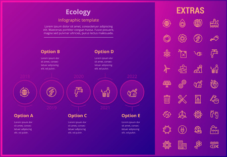 Ecology options infographic template, elements and icons. Infograph includes line icon set with resources of green energy, environmental cycle, water and sun power, oil rig, nuclear power plant etc.