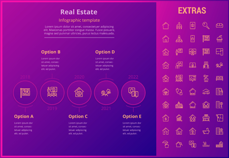 Real estate options infographic template, elements and icons. Infograph includes line icon set with real estate agent, architecture engineering, investment broker, family house, property sale etc. Illustration