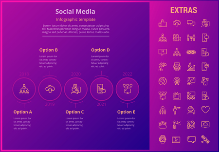 Social media options infographic template, elements and icons. Infograph includes line icon set with tv set, network connection, electronic mail, internet technology, organization chart, cellphone etc