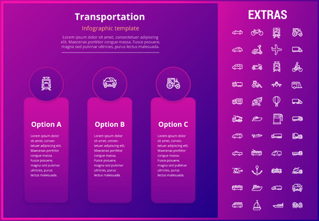 Transportation options infographic template, elements and icons. Infograph includes line icon set with transport vehicle, truck trailer, airplane flight, hot air balloon, construction vehicles etc. Illustration