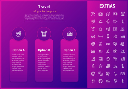Travel options infographic template, elements and icons. Infograph includes line icon set with tourist attraction, luggage cart, travel planning, holiday vacation, traveler, hotel accommodation etc. Illustration