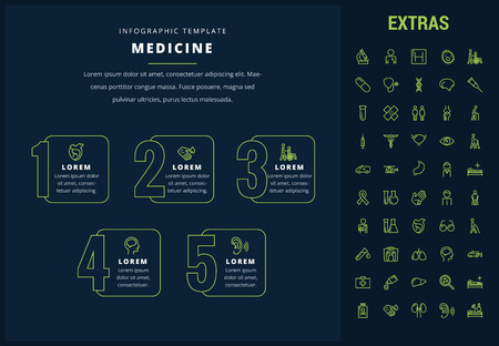 Medicine options infographic template, elements and icons. Infograph includes line icon set with medical stethoscope, disabled person, hospital doctor, first aid kit, healthcare professionals etc.