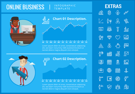 Online business infographic template, elements and icons. Infograph includes customizable graphs, charts, line icon set with stack of money, online market, business worker, mobile shop etc. Ilustrace