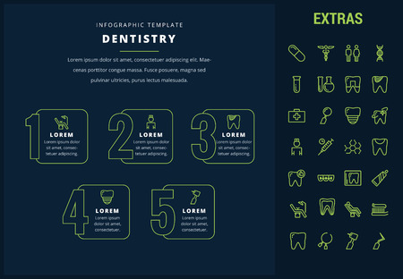 Dentistry options infographic template, elements and icons. Infograph includes line icon set with dentist tools, dental care, tooth decay, teeth health, medicine chest, healthcare professional etc. Ilustracja