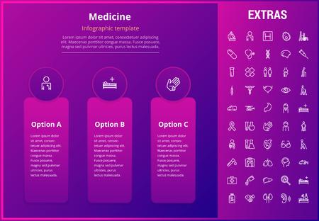 Geneeskunde opties infographic sjabloon, elementen en pictogrammen. Infograph omvat lijnpictogrammenset met medische stethoscoop, gehandicapte, ziekenhuisarts, EHBO-kit, beroepsbeoefenaren in de gezondheidszorg enz. Stock Illustratie